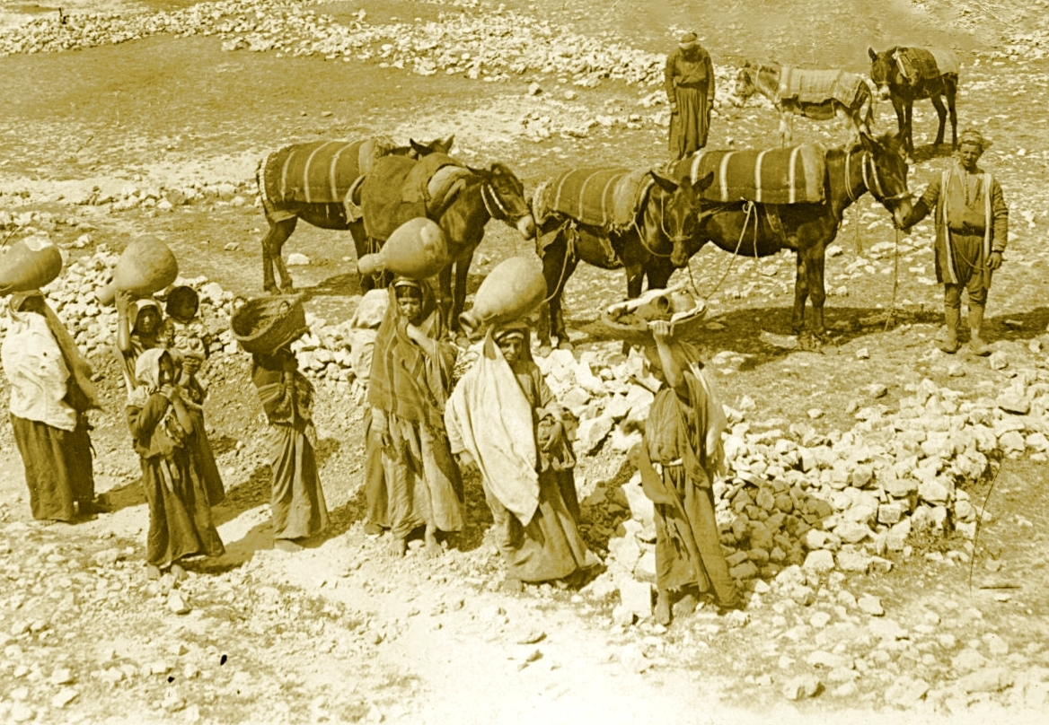 Ramallah - رام الله : RAMALLAH - Ramallah women going about their morning chores, circa 1900s - Keystone-Mast Collection (Per Reem Ackall)