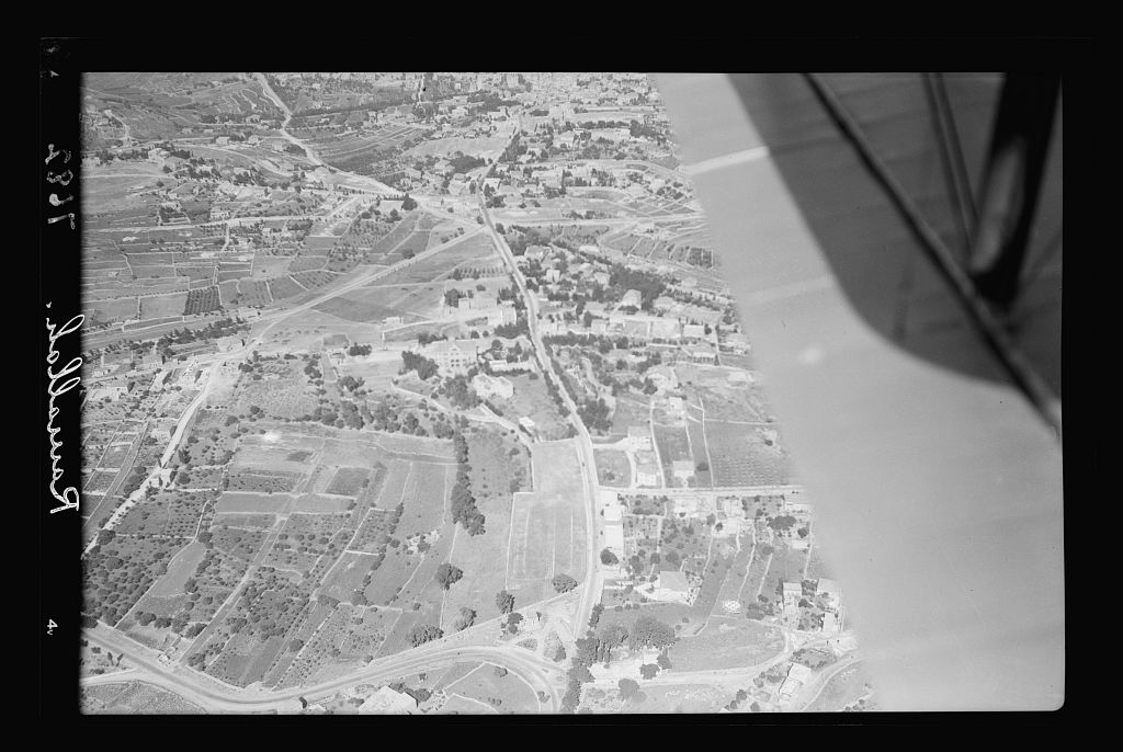 Ramallah - رام الله : Aerial view looking towards the West, 1937 (Matson Collection)