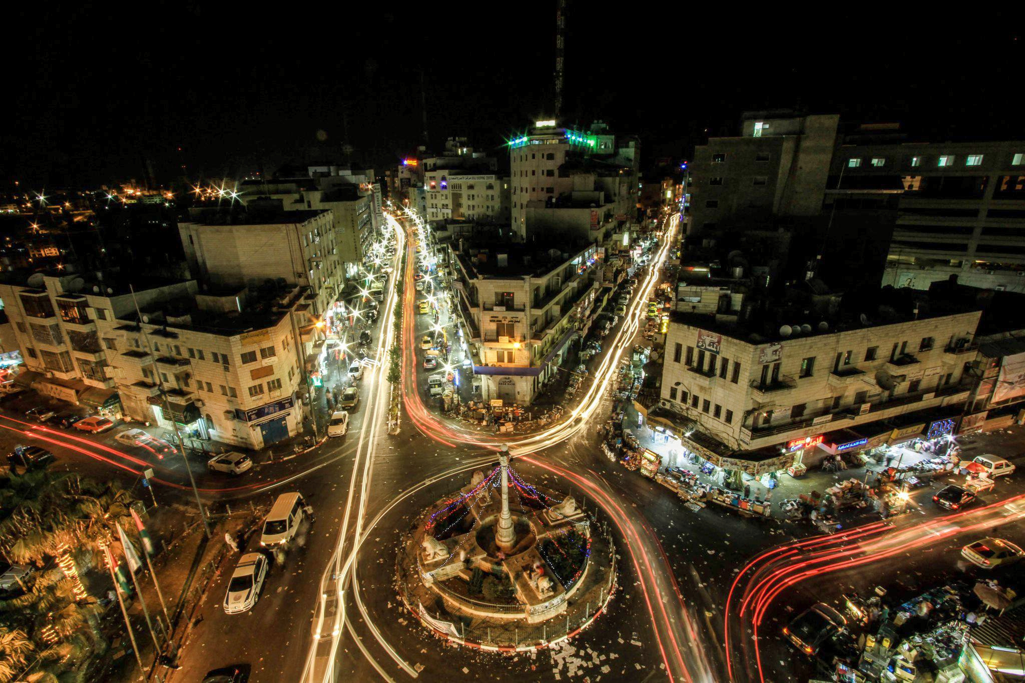 Ramallah - رام الله : RAMALLAH - Al-Manarah at night 5 (Per Ahmad Odeh)