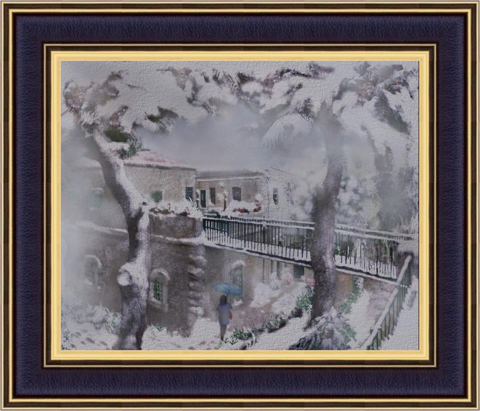 Ramallah - رام الله : RAMALLAH - A painting of the Egal's House in winter.