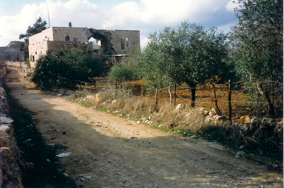 Sharafat - شرفات : The destroyed home of  Ali   Misha'al who the Mokhtar for the village.  It was blown up in 1951 by the Zionists gangs that sneaked into the village and killed him and another eight of his family. Read the below comments for details.