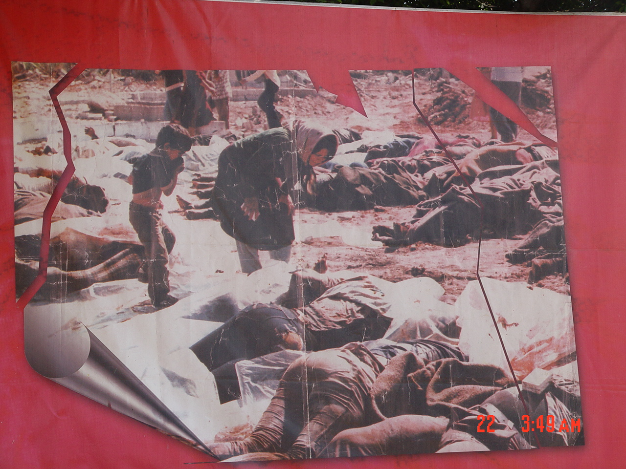 Shatila R.C. - مخيّم شاتيله : A large poster at Sabar & Shatila mass grave (#3)