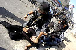al-Ram - الرامّ : Occupation forces arresting Palestinian demonstrators on the streets of Ar Ram.