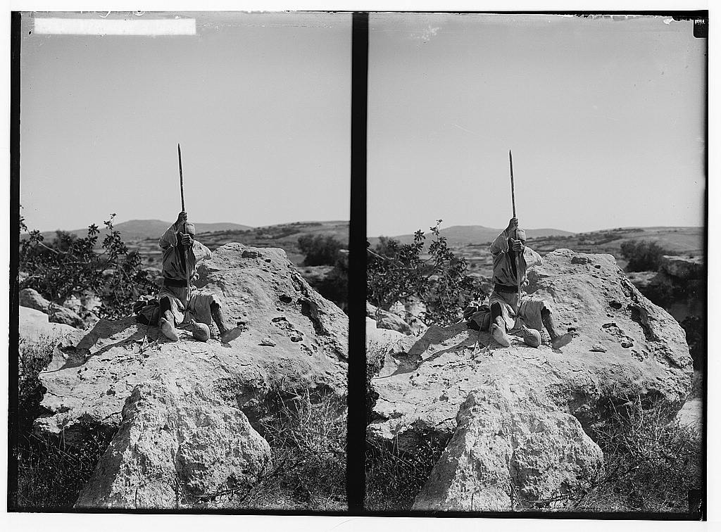 Bayt Jibrin - بيت جبرين : Preparing to blasting the rocks in the nearby by store quarries, Matson Collection (1900-1926)
