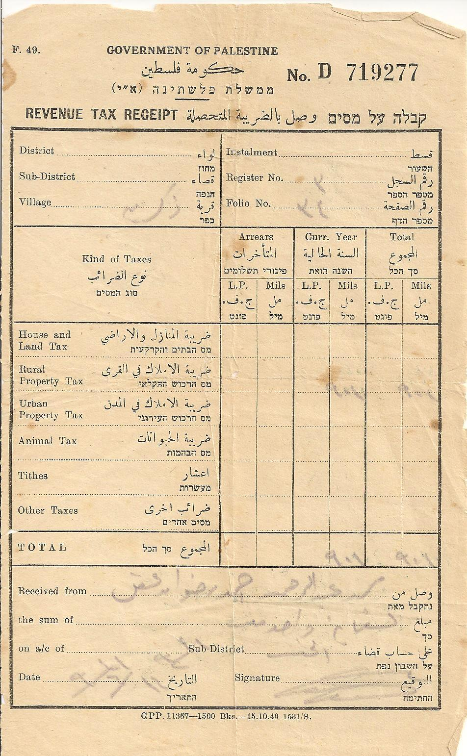 Thikrin - ذِكْرِين/زِكْرِين : Old document belong to the late Mohammad Abdelrahman Aqel