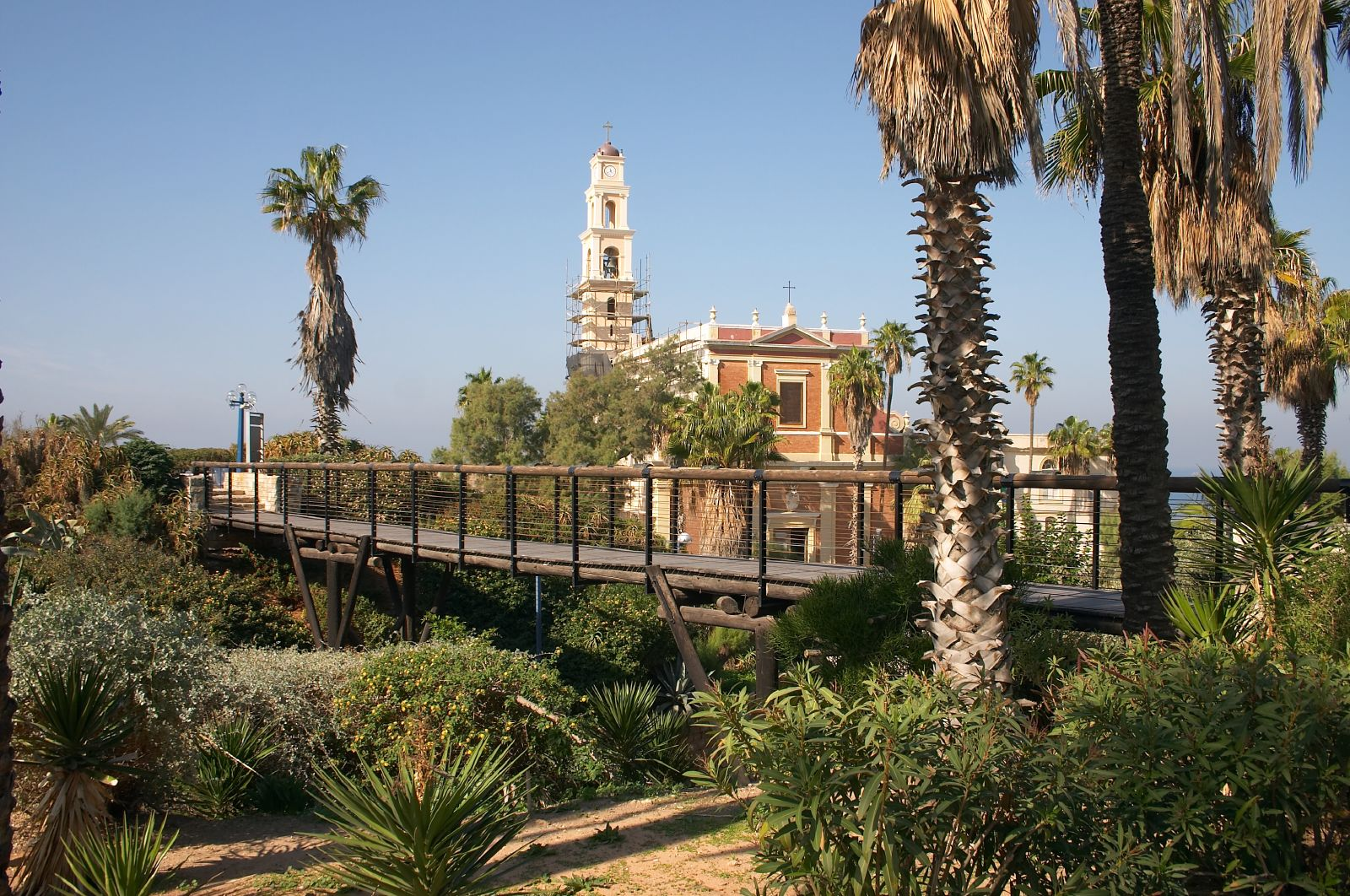 Jaffa - يافا : General view to Jaffa's St. Peter's church and the park around it