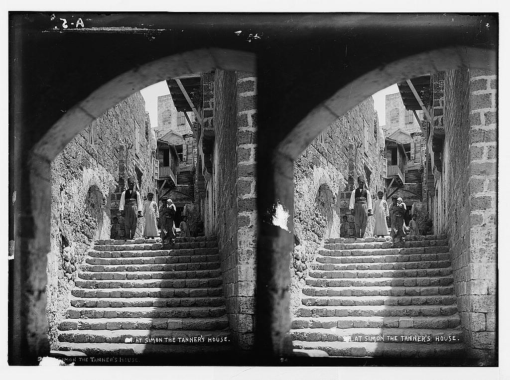 Jaffa - يافا : Street scene in the old city, before 1920. Matson Collection