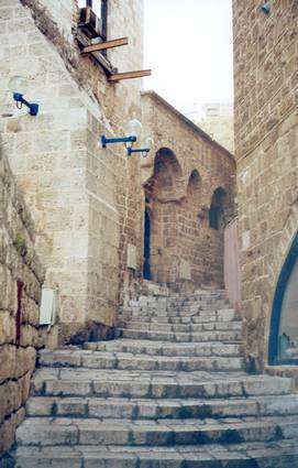 Jaffa - يافا : A stairway in the old city, 1990s