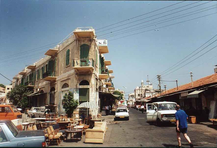 Jaffa - يافا : Jaffa's al-Salahi makret (Suq) 2000. Note the art deco architecture.