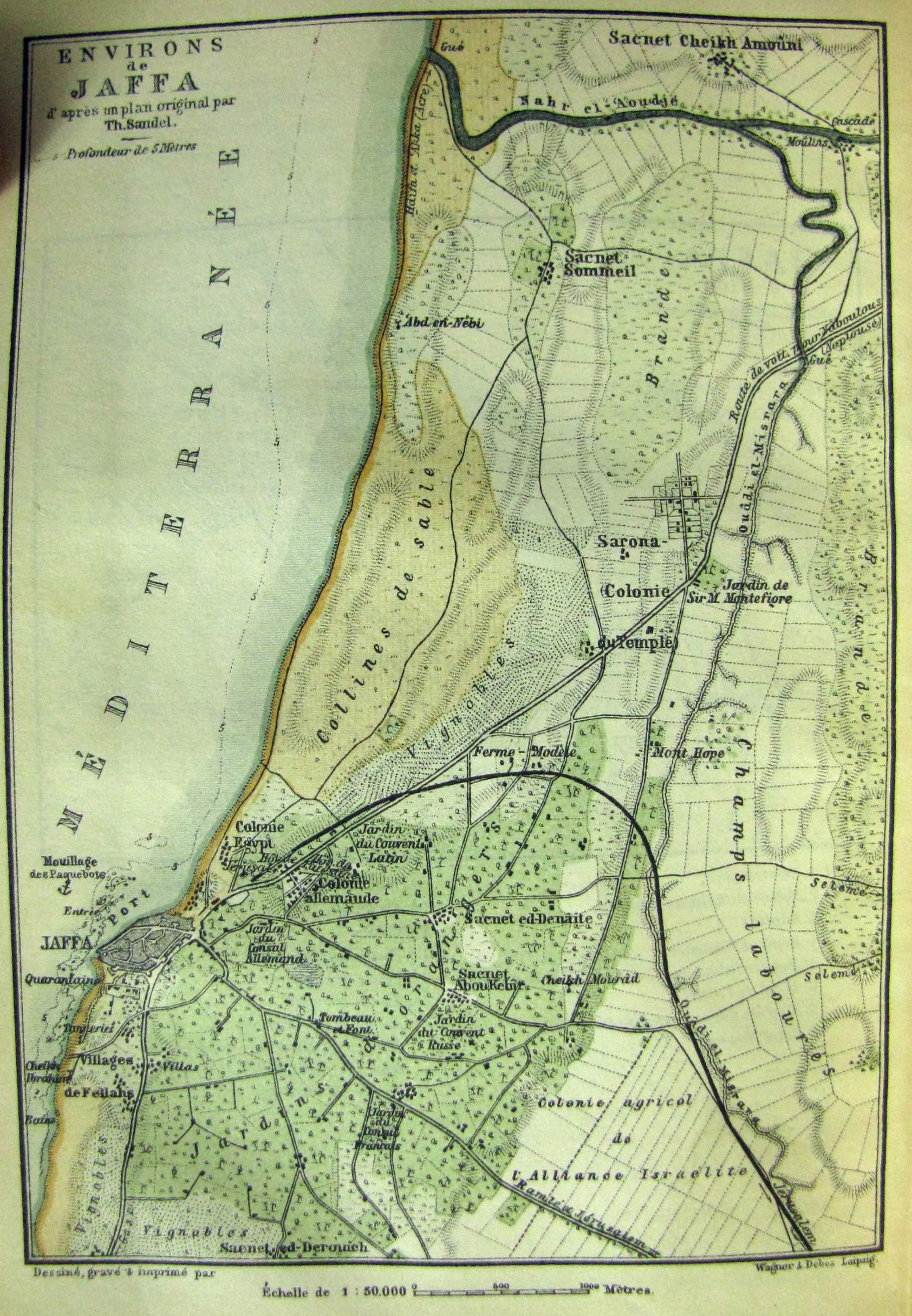 al-Mas'udiyya - المسعوديّة/صميل : The surrounding of Jaffa in a Baedeker travel guide of Palestine (1893) Sacnet Sommeil = al-Mas'udiyya