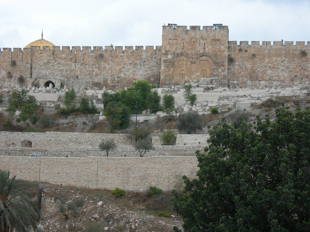 Jerusalem - القدس الشريف : The Golden Gate, and Bab Al-Rahma Cemetery.
