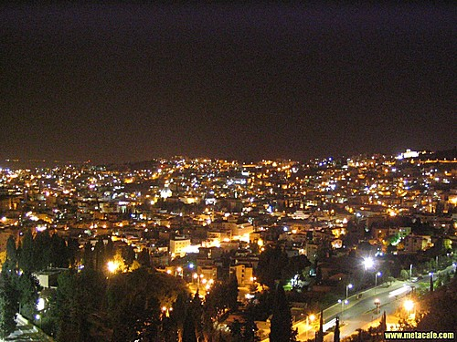 Nazareth - الناصرة : night shot-downtown and east parts of the city