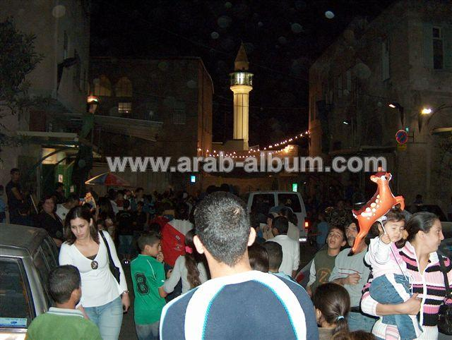 Nazareth - الناصرة : the old city at night+the white mosque
