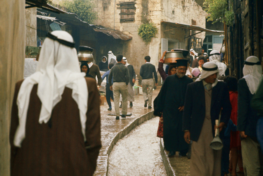 Nazareth - الناصرة : NAZARETH - A street in Nazareth on a rainy day (1980s,90s)