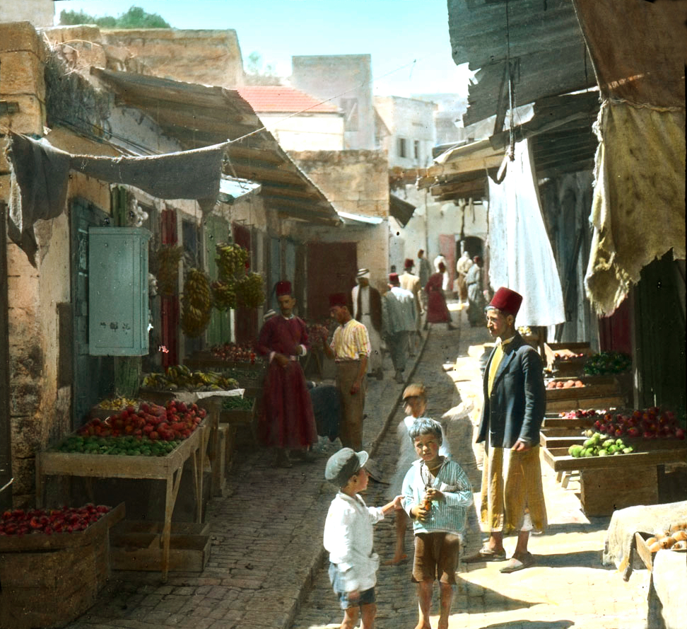 Nazareth - الناصرة : NAZARETH - Late 19th, early 20th c. 57 - A market street (Colourised, American Colony photograph)