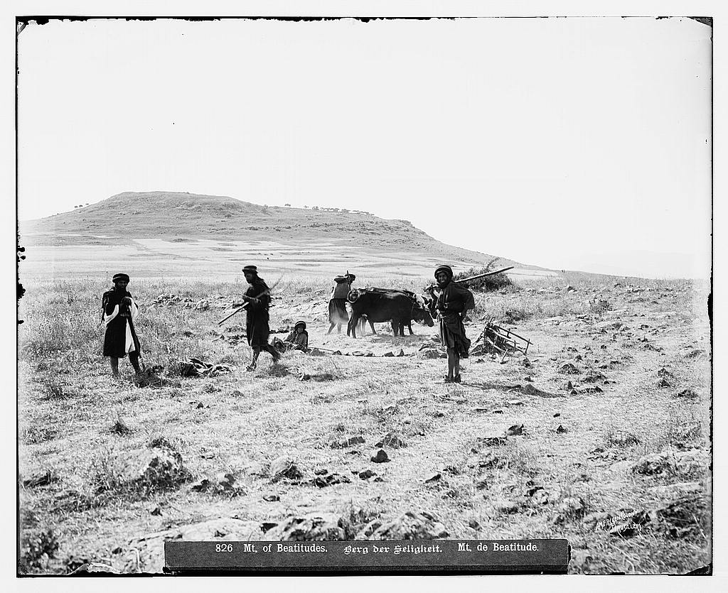 Hittin - حطّين : Village farmers, Matson collection. (Before 1914)