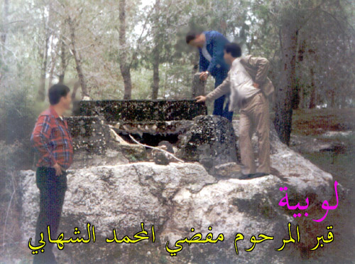 Lubya - لوبيا : Remains of Lubya-The grave of <b>Mfaddi Mohd. Al-Shihabi</b>, 1989. Mfaddi has hundreds of grandsons, most of them live in Yarmouk Refugee Camp, Damascus.  This grave was desecrated by some Zionists.