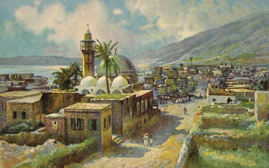 Tiberias - طبريه : TIBERIAS - Late 19th, early 20th c. 42 (Painting based on photograph)