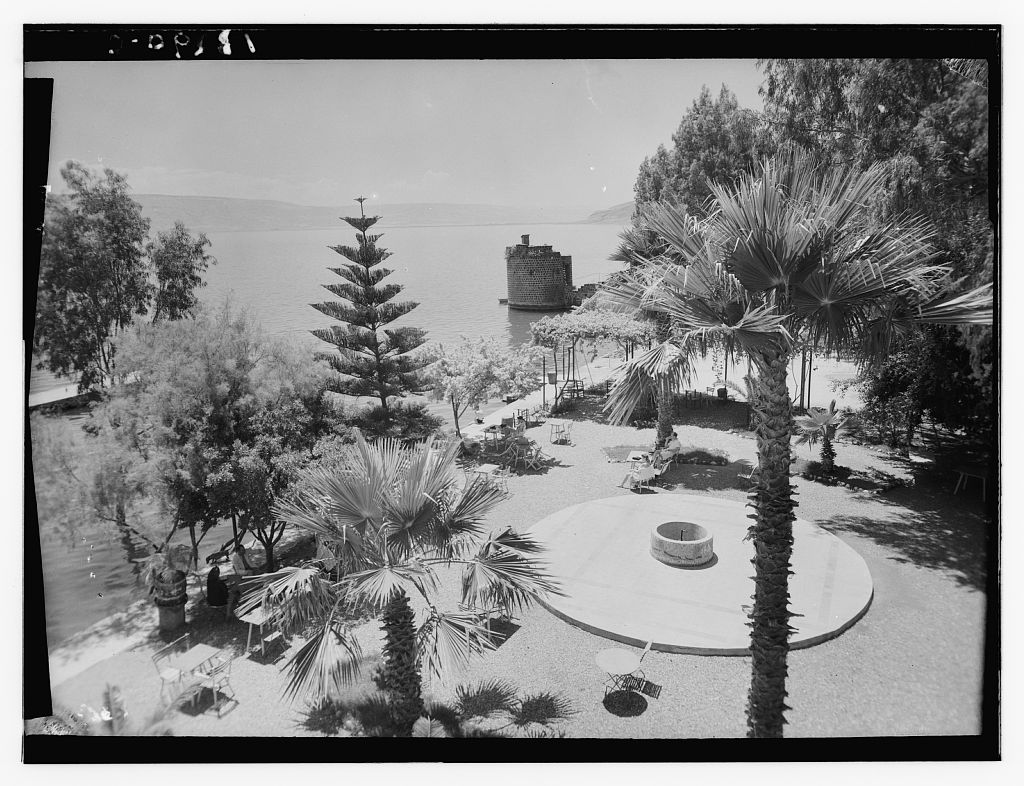 The Lido Terrace showing ancient crusader tower. 1936