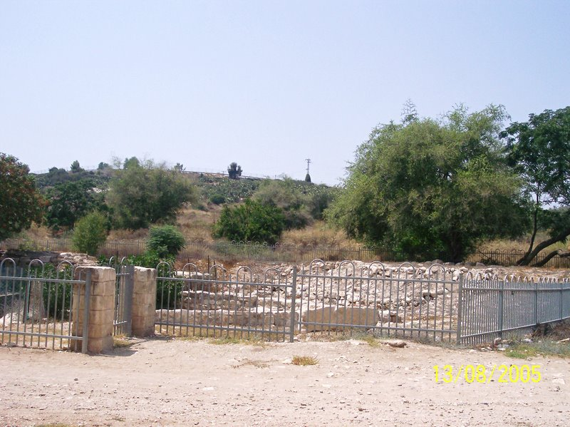 al-Shajara - الشجرة : the ruins of the village mill surrounded by a fence