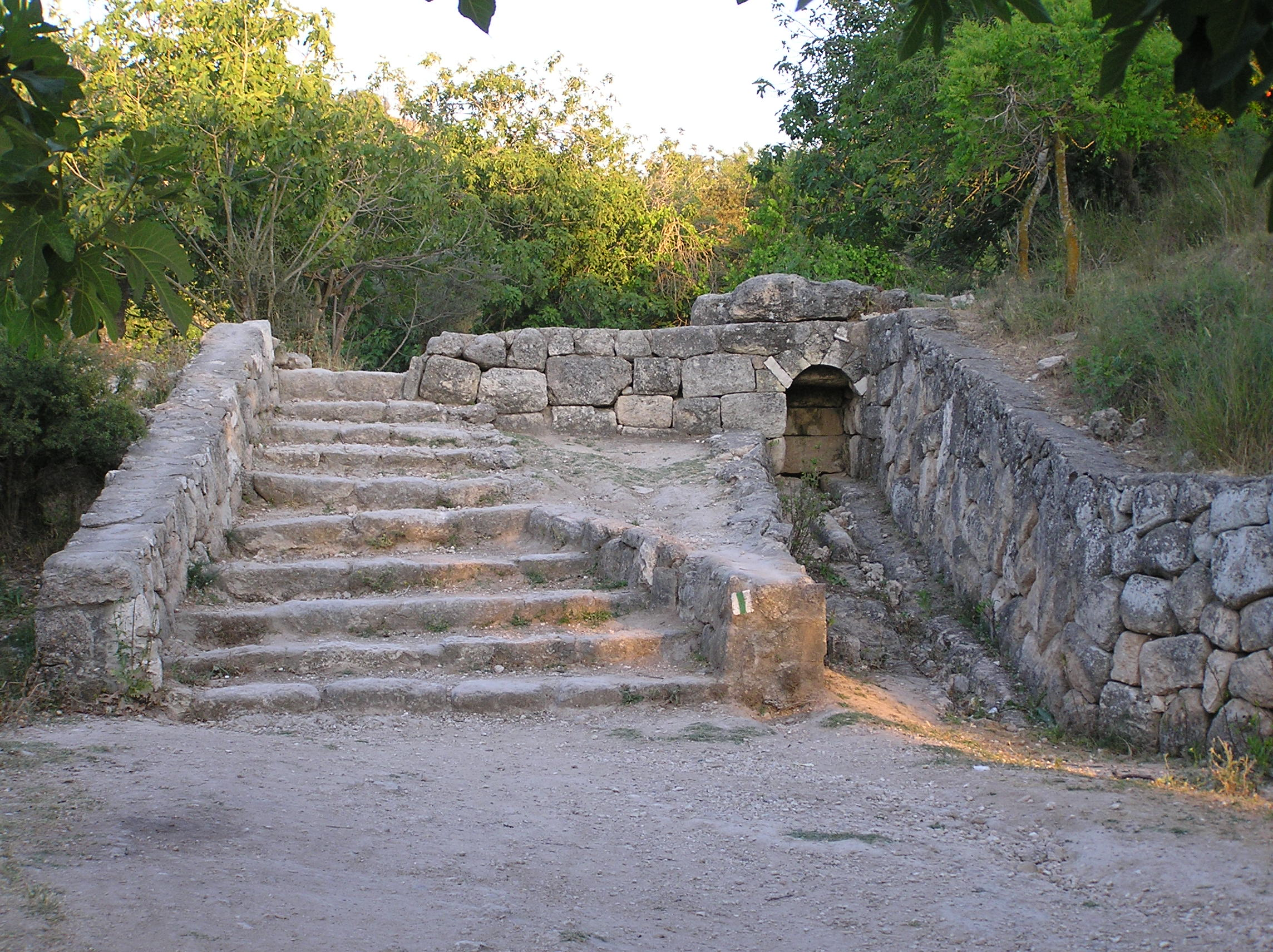 'Imwas - عِمواس : The Dry Ain Pathway/Route To The Right Of Stone Steps. Note The Fig Trees!