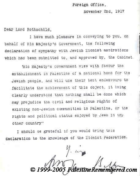 2 novembre 1917, la Dichiarazione Balfour