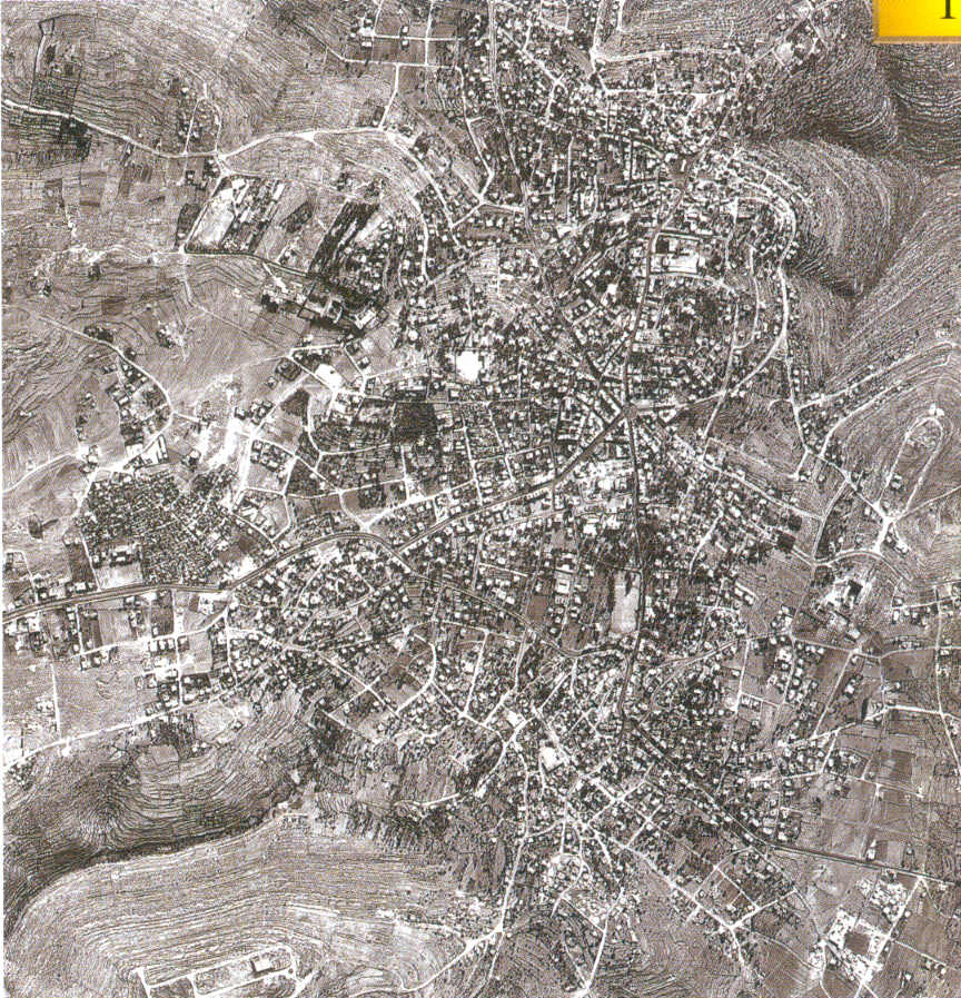 Ramallah - رام الله : Aerial view of Ramallah and al-Bira in 1967. North points to the right hand